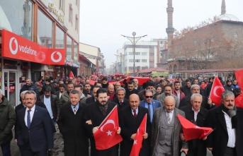 Ağrılılar İdlib şehitleri için yürüdü