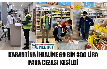 KARANTİNA İHLALİNE 69 BİN 300 LİRA PARA CEZASI KESİLDİ