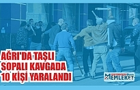 Ağrı Taşlıçay'da akrabalar arasında çıkan tartışmanın taşlı sopalı kavgaya dönüşmesiyle 10 kişi yaralandı.