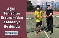 Türkiye Tenis Federasyonu tarafından Erzurum'da düzenlenen Hafta İçi Tenis Turnuvasında, Ağrılı tenisçiler 3 madalya kazanarak turnuvaya damga vurdu.