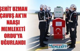 ŞEHİT UZMAN ÇAVUŞ AK'IN NAAŞI MEMLEKETİ ORDU'YA...