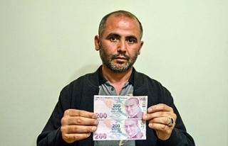 Yanlış baskı yapılan 200 TL'lik banknotu...