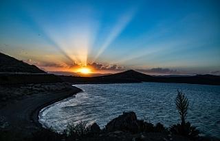 Ağrı'da gün batımı doğal güzellik oluşturdu