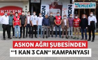 """ASKON AĞRI ŞUBESİNDEN """"1 KAN 3 CAN"""" KAMPANYASI"""