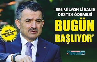 Bakan Pakdemirli: '886 milyon liralık destek ödemesi bugün başlıyor'