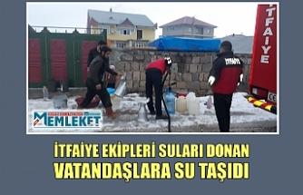 İtfaiye ekipleri suları donan vatandaşlara su taşıdı