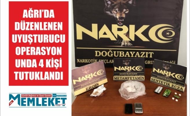 Ağrı'da düzenlenen uyuşturucu operasyonunda 4 kişi tutuklandı