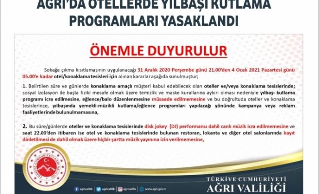 Ağrı'da otellerde yılbaşı kutlama programları yasaklandı