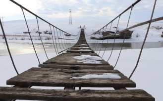 Tarihi Köprü 'nün kış manzarası göz kamaştırıyor