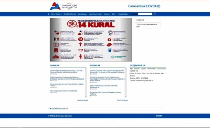AİÇÜ'de Koronavirüs (COVID-19) İle İlgili Web Sayfası Oluşturuldu