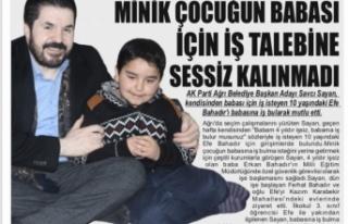 MİNİK ÇOCUĞUN BABASI İÇİN İŞ TALEBİNE SESSİZ...